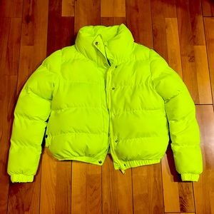Lime green puffer jacket